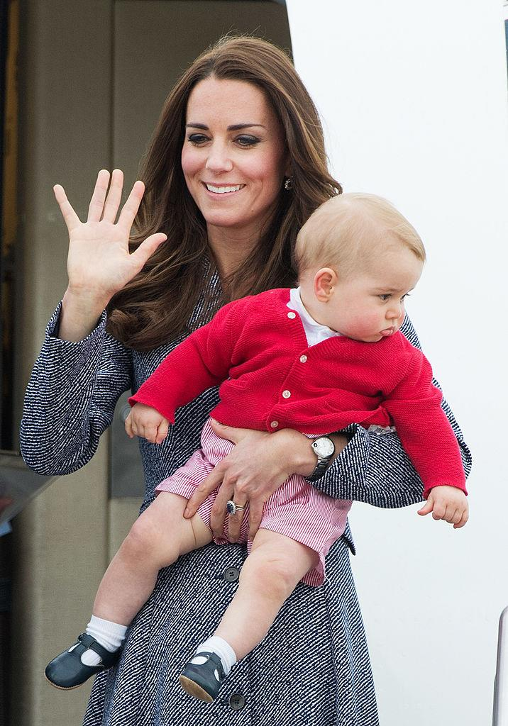 Prince George in the adorable outfit his little sister would inherit a year later. (Getty Images)