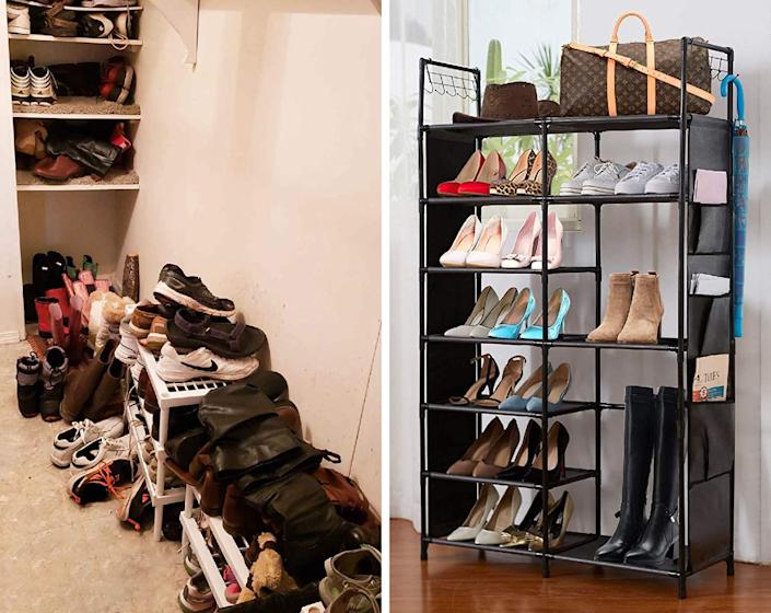 Houyomics Shoe Rack quickly transforms clutter in your home. Image via Amazon.