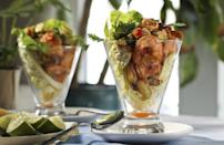 """<p>Sure, this is a little different than the elements of a traditional salad, but it's the perfect option when you want something light and refreshing that <a href=""""https://www.thedailymeal.com/cook/best-salads-without-lettuce-slideshow?referrer=yahoo&category=beauty_food&include_utm=1&utm_medium=referral&utm_source=yahoo&utm_campaign=feed"""" rel=""""nofollow noopener"""" target=""""_blank"""" data-ylk=""""slk:goes beyond lettuce"""" class=""""link rapid-noclick-resp"""">goes beyond lettuce</a>. Serve the shrimp cocktail over a bed of mixed salad greens and garnish with avocado slices and a lime wedge.</p> <p><a href=""""https://www.thedailymeal.com/shrimp-cocktail-salad-recipe?referrer=yahoo&category=beauty_food&include_utm=1&utm_medium=referral&utm_source=yahoo&utm_campaign=feed"""" rel=""""nofollow noopener"""" target=""""_blank"""" data-ylk=""""slk:For the Shrimp Cocktail Salad recipe, click here."""" class=""""link rapid-noclick-resp"""">For the Shrimp Cocktail Salad recipe, click here.</a></p>"""