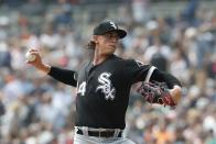 FILE - In this Aug. 26, 2018, file photo, Chicago White Sox starting pitcher Michael Kopech throws during the first inning of a baseball game against the Detroit Tigers, in Detroit. White Sox prospect Michael Kopech missed the start of summer camp Frida, Ju;y 3, 2020, due to a personal matter. General manager Rick Hahn said he doesn't have a timeline for the return of the 24-year-old right-hander. Given the time we're living through together I will try to answer the question that's probably now at the top of everybody's mind and just share the fact that currently Michael is healthy, Hahn said on a video conference call.(AP Photo/Carlos Osorio, File)
