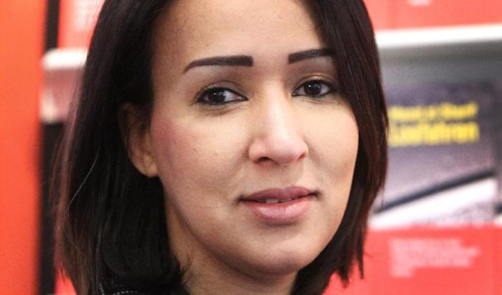Manal al-Sharif is pictured at the Frankfurt Book Fair in Germany, on October 11, 2017 (AFP Photo/Amelie QUERFURTH)