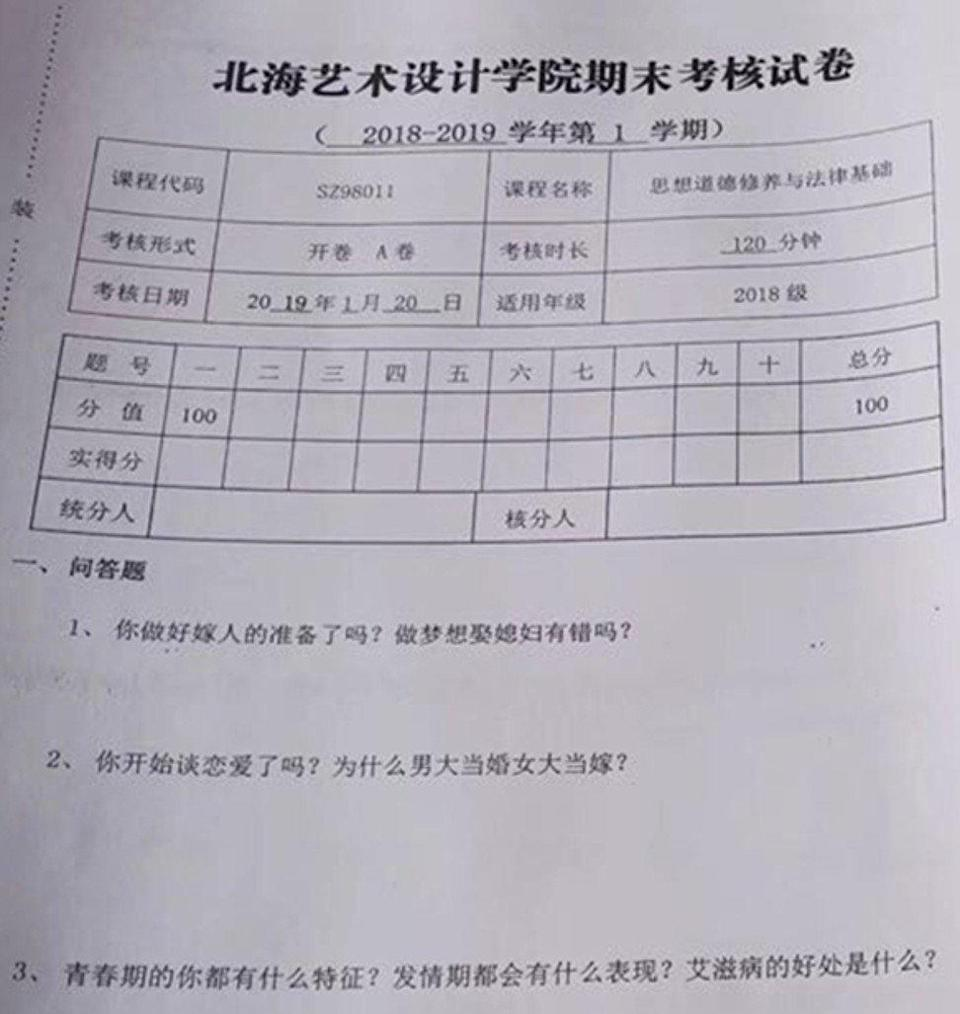 Have you ever had sex? Chinese students blame art college dean for bizarre questions in politics exam