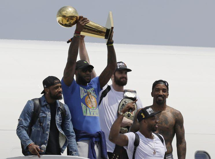 The 2017 NBA Finals will once again decide whether J.R. Smith wears a shirt for the rest of June. (AP)