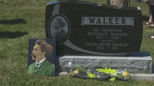 A headstone honouring the first Black Canadian-born lawyer, Abraham Beverley Walker, was unveiled on Thursday June 24, 2021 at a Saint John cemetery.  (Graham Thompson - image credit)