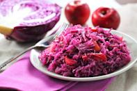 """A trilogy of apple—cider, cider vinegar, and ample chunks of Gala or Fuji— contributes sweet-tart goodness to this Germanic dish. It's a simple, straightforward celebration of fall. <a href=""""https://www.epicurious.com/recipes/food/views/quick-braised-red-cabbage-and-apple-240268?mbid=synd_yahoo_rss"""" rel=""""nofollow noopener"""" target=""""_blank"""" data-ylk=""""slk:See recipe."""" class=""""link rapid-noclick-resp"""">See recipe.</a>"""