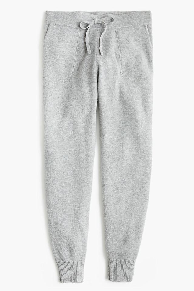 """<p><a href=""""https://www.popsugar.com/buy/JCrew-Joggers-Everyday-Cashmere-491189?p_name=J.Crew%20Joggers%20in%20Everyday%20Cashmere&retailer=jcrew.com&pid=491189&price=228&evar1=fab%3Aus&evar9=46624333&evar98=https%3A%2F%2Fwww.popsugar.com%2Ffashion%2Fphoto-gallery%2F46624333%2Fimage%2F46624342%2FJCrew&list1=shopping%2Csweatpants&prop13=mobile&pdata=1"""" rel=""""nofollow"""" data-shoppable-link=""""1"""" target=""""_blank"""" class=""""ga-track"""" data-ga-category=""""Related"""" data-ga-label=""""https://www.jcrew.com/p/womens_category/sweaters/sweatpants/joggers-in-everyday-cashmere/AD355?color_name=hthr-grey"""" data-ga-action=""""In-Line Links"""">J.Crew Joggers in Everyday Cashmere</a> ($228).</p>"""