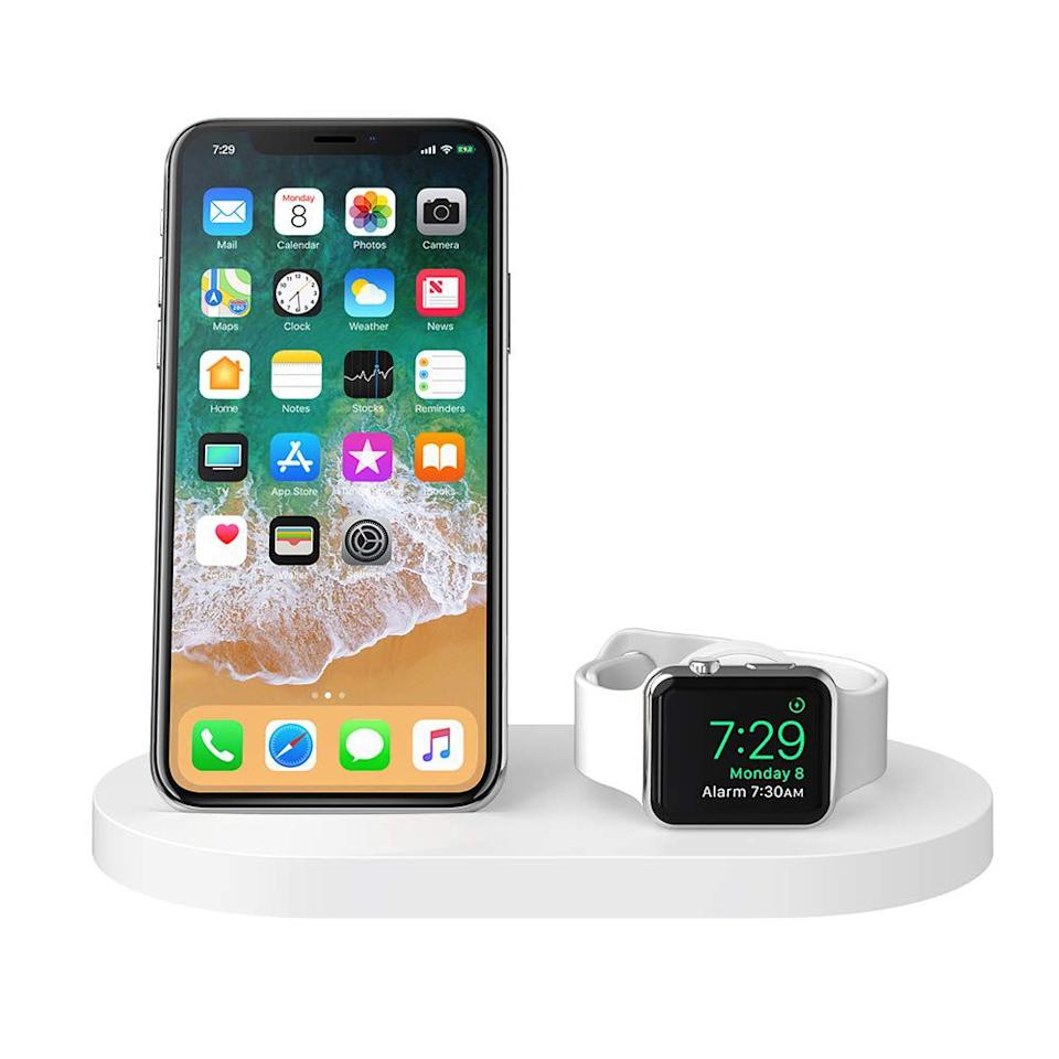 """<p><strong>Belkin</strong></p><p>amazon.com</p><p><strong>$129.85</strong></p><p><a href=""""https://www.amazon.com/dp/B07M6SKV1Z?tag=syn-yahoo-20&ascsubtag=%5Bartid%7C2089.g.293%5Bsrc%7Cyahoo-us"""" target=""""_blank"""">Shop Now</a></p><p>This Belkin accessory is an amazing gift for someone who owns a new iPhone and an Apple Watch. The gadget can wirelessly charge the devices rapidly and simultaneously, using Apple's own 7.5-watt output standard.<br><br>Of course, the Boost Up charging dock supports Nightstand Mode for the Apple Watch. Available in black or white, the device has a built-in USB port, allowing users to charge a third device alongside their iPhone and Apple Watch.<strong><br></strong></p><p><strong>More:</strong> <a href=""""https://www.bestproducts.com/tech/electronics/g3245/cool-new-iphone-accessories/"""" target=""""_blank"""">10+ iPhone Accessories We Use Ourselves</a></p>"""