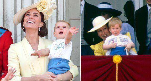 Prince Harry and Princess Anne pictured at the 1986 Trooping the colour in the same outfits as Prince Louis and Kate Middleton in 2019
