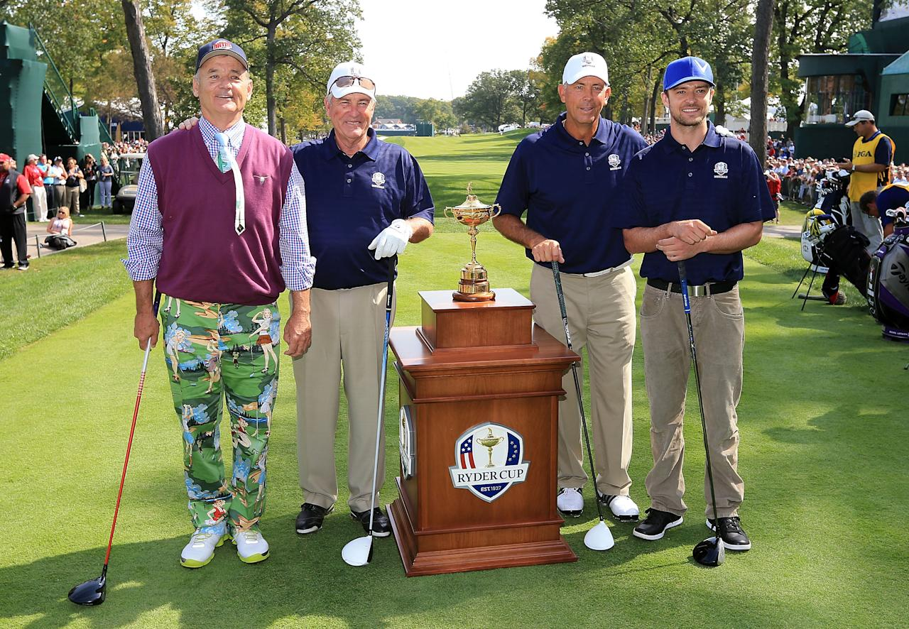 MEDINAH, IL - SEPTEMBER 25:  (L-R)  Bill Murray, Dave Stockton, Tom Lehman and justin Timberlake pose with the Ryder Cup on the first tee during the 2012 Ryder Cup Captains & Celebrity Scramble at Medinah Country Golf Club on September 25, 2012 in Medinah, Illinois.  (Photo by David Cannon/Getty Images)