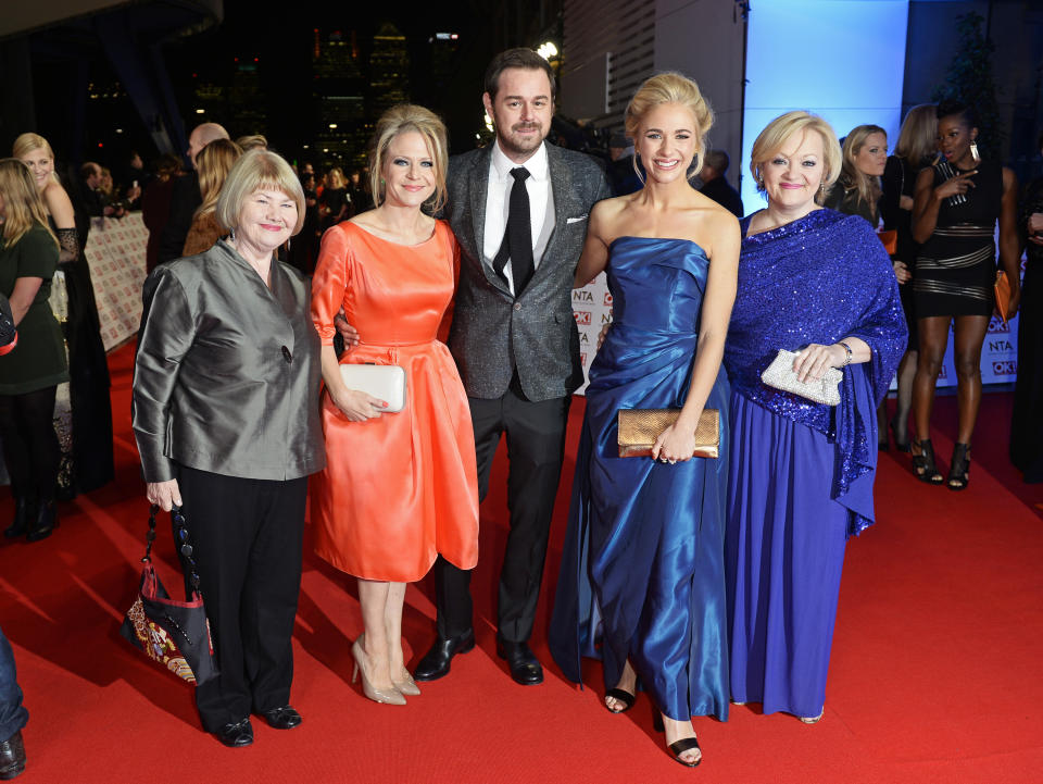 LONDON, ENGLAND - JANUARY 21:  (L to R) Annette Badland, Kellie Bright, Danny Dyer, Maddy Hill and Maria Friedman attend the National Television Awards at 02 Arena on January 21, 2015 in London, England.  (Photo by David M. Benett/Getty Images)