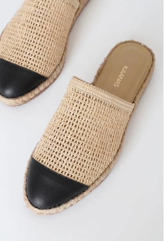 "<p>Nothing beats an easy summer slip-on.</p> <p><a href=""https://www.popsugar.com/buy/Kaanas-Flamengo-Black-573328?p_name=Kaanas%20Flamengo%20Black&retailer=kaanas.com&pid=573328&price=139&evar1=fab%3Aus&evar9=47446893&evar98=https%3A%2F%2Fwww.popsugar.com%2Ffashion%2Fphoto-gallery%2F47446893%2Fimage%2F47463241%2FKaanas-Flamengo-Black&list1=sandals%2Cshoes%2Ctrends%2Csummer%2Cfashion%20shopping&prop13=api&pdata=1"" class=""link rapid-noclick-resp"" rel=""nofollow noopener"" target=""_blank"" data-ylk=""slk:Kaanas Flamengo Black"">Kaanas Flamengo Black</a> ($139) </p>"