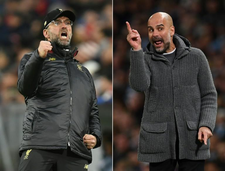Liverpool's Jurgen Klopp (left)and Manchester City's Pep Guardiola (right)still see each other's sides as their main rivals for the Premier League title