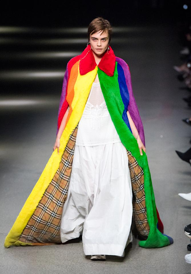 <p>The catwalk fixture was just one of many models at Burberry representing the LGBTQ flag with her ensemble.</p>