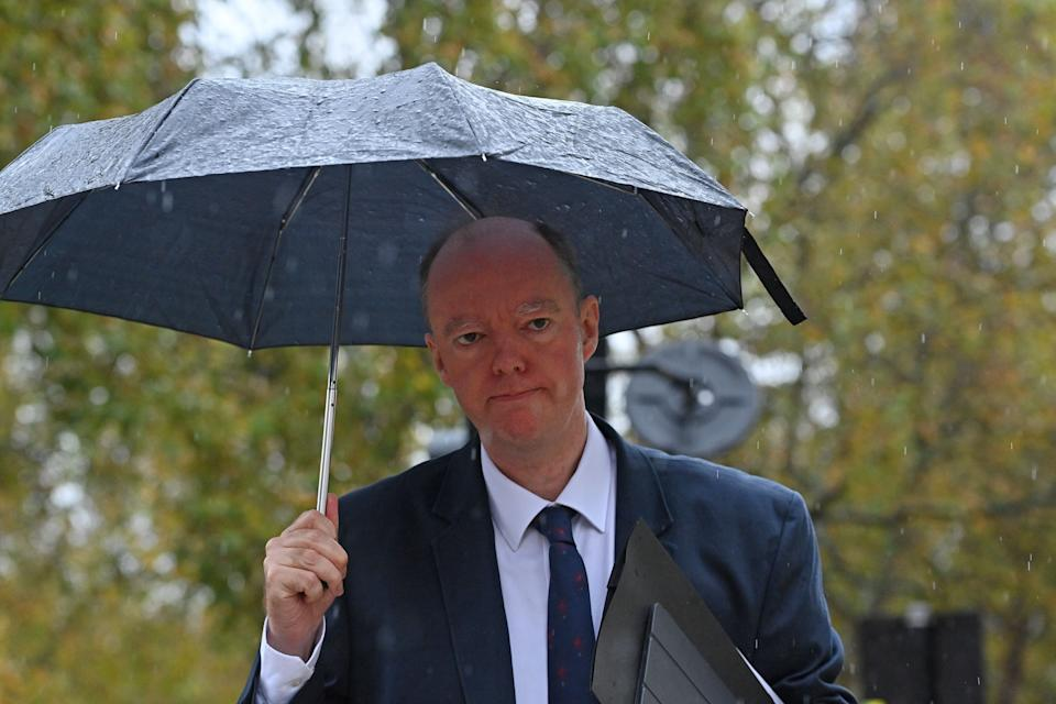 Chief Medical Officer for England Chris Whitty walks through Westminster in London on October 31, 2020 (Photo: JUSTIN TALLIS via Getty Images)