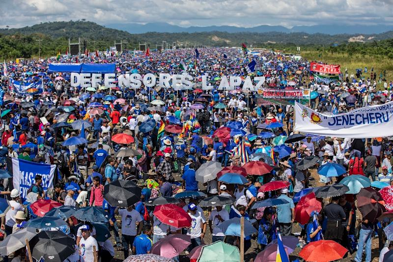 Supporters of Bolivian President Evo Morales are pictured during the launching of his campaign for re-election in Chimore, on May 18, 2019. General elections will take place on October 20, 2019 (AFP Photo/Noah Friedman-Rudovsky)