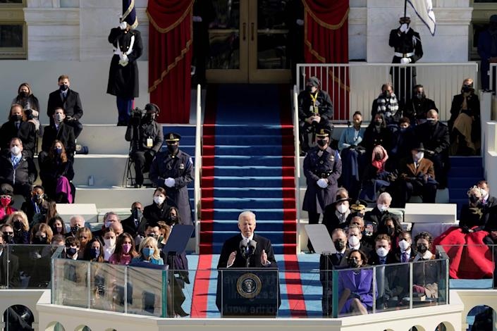 """President Joe Biden delivers his inauguration speech after being sworn in as the 46th President of the United States in Washington on Jan. 20, 2021.<span class=""""copyright"""">Patrick Semansky—Pool/AFP/Getty Images</span>"""