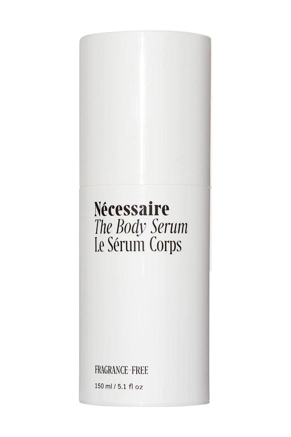 """<p><strong>Nécessaire</strong></p><p>sephora.com</p><p><strong>$45.00</strong></p><p><a href=""""https://go.redirectingat.com?id=74968X1596630&url=https%3A%2F%2Fwww.sephora.com%2Fproduct%2Fnecessaire-the-body-serum-P459729&sref=https%3A%2F%2Fwww.cosmopolitan.com%2Fstyle-beauty%2Fbeauty%2Fg33995669%2Fbest-body-serums%2F"""" rel=""""nofollow noopener"""" target=""""_blank"""" data-ylk=""""slk:Shop Now"""" class=""""link rapid-noclick-resp"""">Shop Now</a></p><p>This gentle body serum is a staple in my medicine cabinet. I rub a few pumps all over post shower, and let the hyaluronic acid and vitamin-infused gel formula hydrate and plump the hell out of my skin. P.S. This bb is fragrance-free and pH-balanced, making it <strong>a safe choice for anyone with <a href=""""https://www.cosmopolitan.com/style-beauty/beauty/a31347/beauty-products-sensitive-skin/"""" rel=""""nofollow noopener"""" target=""""_blank"""" data-ylk=""""slk:sensitive"""" class=""""link rapid-noclick-resp"""">sensitive</a> or easily irritated skin.</strong></p>"""