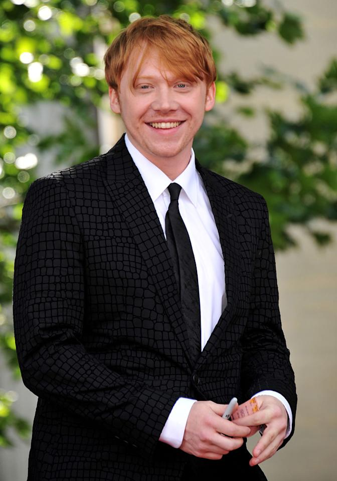 """<a href=""""http://movies.yahoo.com/movie/contributor/1802866082"""">Rupert Grint</a> at the London world premiere of <a href=""""http://movies.yahoo.com/movie/1810004624/info"""">Harry Potter and the Deathly Hallows - Part 2</a> on July 7, 2011."""