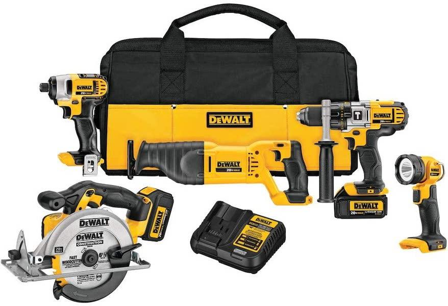 Save $334 on this set of 5 power tool essentials by DeWalt. (Photo: Amazon)