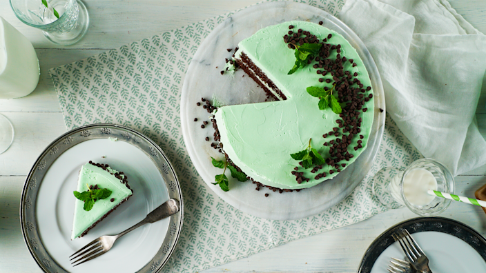 """<p><strong>Recipe: <a href=""""https://www.southernliving.com/recipes/mint-chocolate-chip-cake"""" rel=""""nofollow noopener"""" target=""""_blank"""" data-ylk=""""slk:Mint Chocolate Chip Cake"""" class=""""link rapid-noclick-resp"""">Mint Chocolate Chip Cake</a></strong></p> <p>We turned the classic ice cream into a decadent layer cake.</p>"""