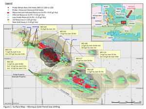 Surface Map – Monique Gold Trend new drilling