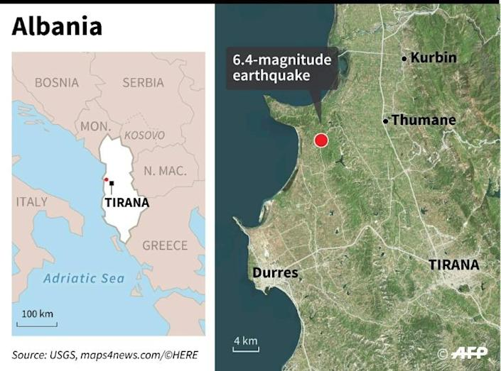 Satellite map locating towns most affected by earthquake in Albania on Nov 26 (AFP Photo/Gillian HANDYSIDE)