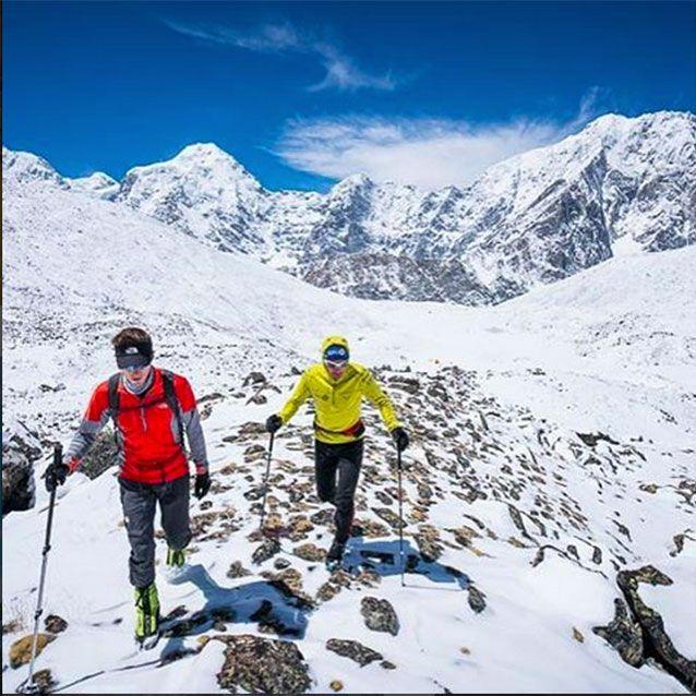 Climbers David Goettler from Germany and Ueli Steck from Switzerland found the remains of Lowe and Bridges partially melting out of a glacier on the south face of Shishapangma, Tibet. Picture: Instagram/@steckueli