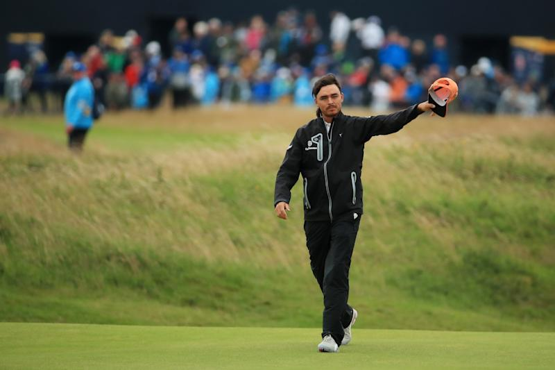 PORTRUSH, NORTHERN IRELAND - JULY 21: Rickie Fowler of the United States reacts to the crowd on the 18th green during the final round of the 148th Open Championship held on the Dunluce Links at Royal Portrush Golf Club on July 21, 2019 in Portrush, United Kingdom. (Photo by Andrew Redington/Getty Images)