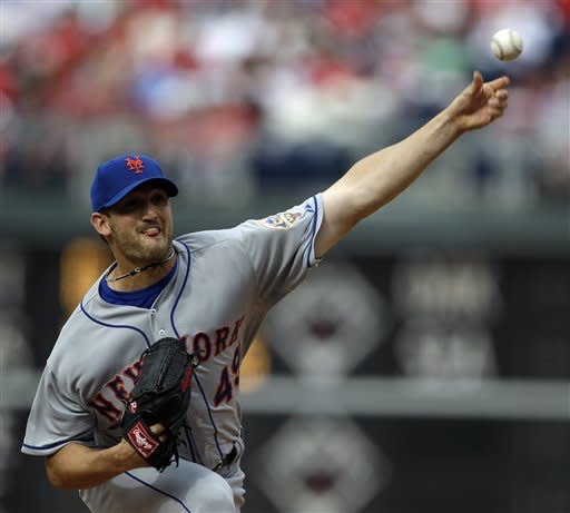 New York Mets' Jonathon Niese pitches in the first inning of a baseball game against the Philadelphia Phillies, Saturday, April 14, 2012, in Philadelphia. (AP Photo/Matt Slocum)