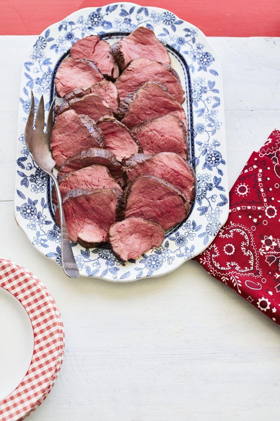 """<p>Ladd's beef tenderloin is <em>not</em> to be missed. It's the stuff of legend in the Drummond house!</p><p><strong><a href=""""https://www.thepioneerwoman.com/food-cooking/recipes/a12122/ladds-grilled-tenderloin/"""" rel=""""nofollow noopener"""" target=""""_blank"""" data-ylk=""""slk:Get the recipe"""" class=""""link rapid-noclick-resp"""">Get the recipe</a>.</strong></p><p><a class=""""link rapid-noclick-resp"""" href=""""https://go.redirectingat.com?id=74968X1596630&url=https%3A%2F%2Fwww.walmart.com%2Fbrowse%2Fhome%2Fthe-pioneer-woman-cookware%2F4044_623679_6182459_9190581&sref=https%3A%2F%2Fwww.thepioneerwoman.com%2Ffood-cooking%2Fmeals-menus%2Fg35191871%2Fsteak-dinner-recipes%2F"""" rel=""""nofollow noopener"""" target=""""_blank"""" data-ylk=""""slk:SHOP COOKWARE"""">SHOP COOKWARE</a></p>"""