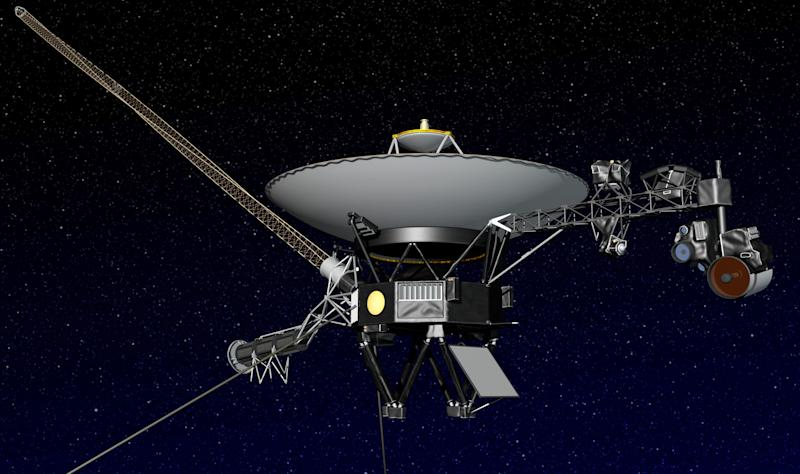 This artist rendering released by NASA shows NASA's Voyager 1 spacecraft in space. The space agency announced Thursday, Sept. 12, 2013 that Voyager 1 has become the first spacecraft to enter interstellar space, or the space between stars, more than three decades after launching from Earth. (AP Photo/NASA)