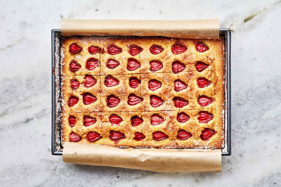 """<a href=""""https://www.bonappetit.com/recipe/strawberry-snacking-cake?mbid=synd_yahoo_rss"""" rel=""""nofollow noopener"""" target=""""_blank"""" data-ylk=""""slk:See recipe."""" class=""""link rapid-noclick-resp"""">See recipe.</a>"""