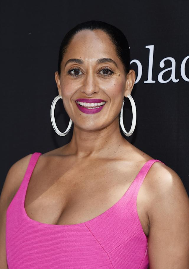 <p>Tracee Ellis Ross wears the large jelly hoop earrings in white by Alison Lou at Walt Disney Studios on April 28, 2018, in Burbank, California. (Photo: Getty Images) </p>