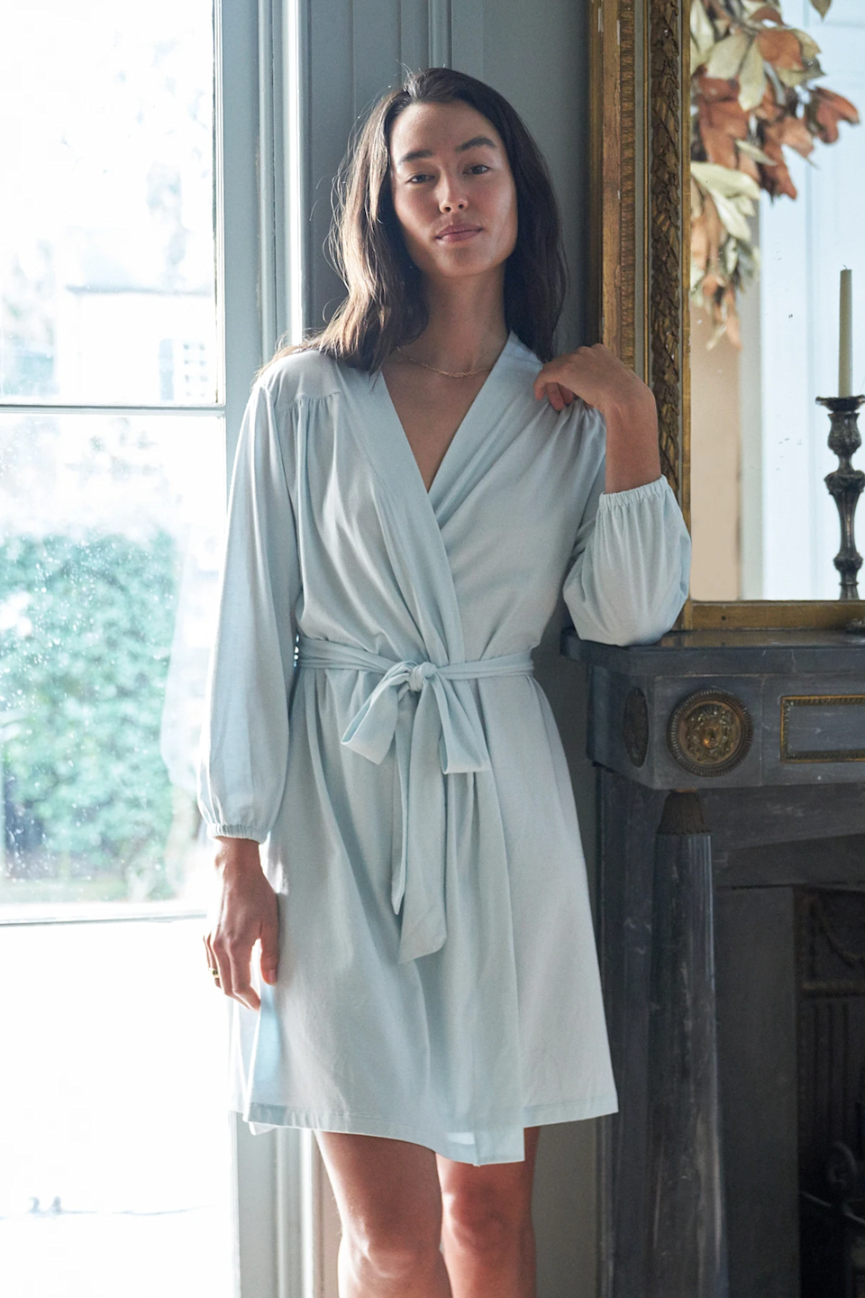 """<h3><h2>Lake DreamKnit Robe</h2></h3><br>This classic robe is made of smooth and stretchy knit and the elastic sleeves add a sweet and timeless finishing touch. <br><br><strong>LAKE</strong> DreamKnit Robe, $, available at <a href=""""https://go.skimresources.com/?id=30283X879131&url=https%3A%2F%2Flakepajamas.com%2Fcollections%2Frobes%2Fproducts%2Fcoastal-blue-dreamknit-robe"""" rel=""""nofollow noopener"""" target=""""_blank"""" data-ylk=""""slk:LAKE"""" class=""""link rapid-noclick-resp"""">LAKE</a>"""