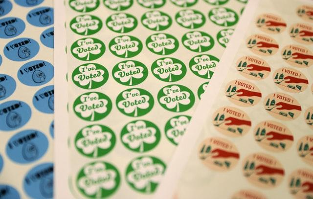 'I've Voted' stickers at a polling station in Dublin