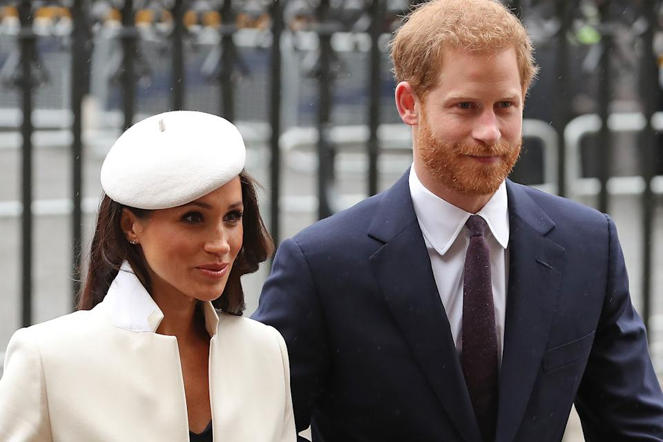 Britain's Prince Harry (R) and his fiancee US actress Meghan Markle attend a Commonwealth Day Service at Westminster Abbey in central London, on March 12, 2018. - Britain's Queen Elizabeth II has been the Head of the Commonwealth throughout her reign. Organised by the Royal Commonwealth Society, the Service is the largest annual inter-faith gathering in the United Kingdom. (Photo by Daniel LEAL-OLIVAS / AFP) (Photo by DANIEL LEAL-OLIVAS/AFP via Getty Images)
