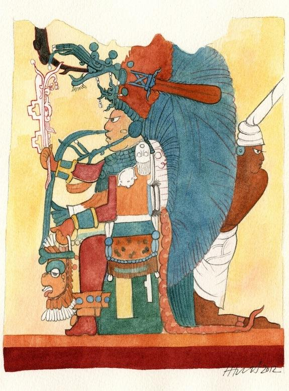 A Maya king, seated and wearing an elaborate head dress of blue feathers, adorns the north wall of the ruined house discovered at the Maya site of Xultún. An attendant, at right, leans out from behind the king's head dress. The painting by arti