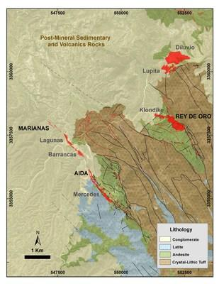 Figure 1: Mercedes regional geology map showing in red the principal gold-bearing veins. 2018 Target Areas are written in black and main deposits in grey. (CNW Group/Premier Gold Mines Limited)