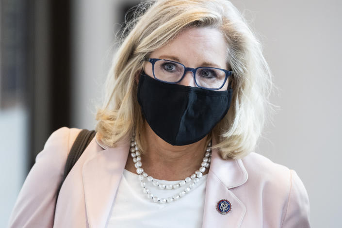 Rep. Liz Cheney, R-Wyo., wearing a mask, in the Capitol on Aug. 24, at the time of the U.S. withdrawal from Afghanistan.