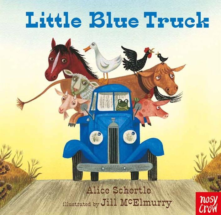 "The first in a series by the same title, ""Little Blue Truck"" is all about unlikely friendships and the beauty of helping others. <i>(Available <a href=""https://www.amazon.com/Little-Blue-Truck-board-book/dp/0544568036"" rel=""nofollow noopener"" target=""_blank"" data-ylk=""slk:here"" class=""link rapid-noclick-resp"">here</a>)</i>"