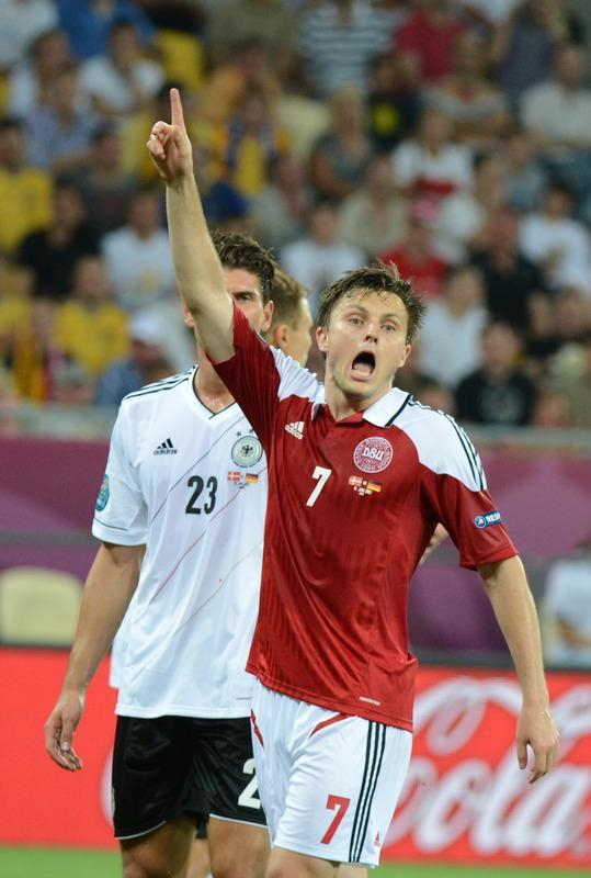 Danish midfielder William Kvist gestures during the Euro 2012 football championships match Denmark vs. Germany, on June 17, 2012 at the Arena Lviv in Lviv. AFP PHOTO / DAMIEN MEYERDAMIEN MEYER/AFP/GettyImages