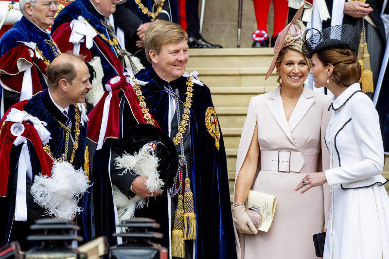 WINDSOR, ENGLAND - JUNE 17: King Willem-Alexander of The Netherlands, Queen Maxima of The Netherlands and Catherine Duchess of Cambridge at St George's Chapel on June 17, 2019 in Windsor, England. (Photo by Patrick van Katwijk/Getty Images)