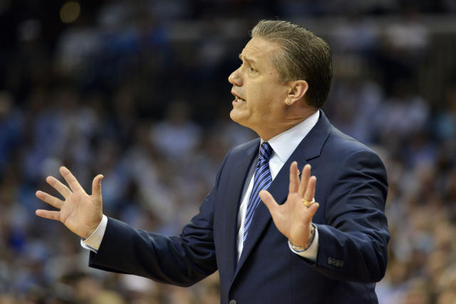 FILE - In this March 26, 2017, file photo, Kentucky coach John Calipari gestures during the first half of the South Regional final against North Carolina in the NCAA college basketball tournament in Memphis, Tenn. When Calipari leads the U.S. men into the under-19 world basketball championship, they will travel to Egypt, home to enough violence lately that the Americans questioned whether it was safe enough to even go defend their title. Gen. Martin Dempsey, the former Chairman of the Joint Chiefs of Staff, is now USA Basketball's chairman, and a conversation a few weeks ago that detailed the Americans' security plans and procedures put Calipari's mind at ease. (AP Photo/Brandon Dill, File)