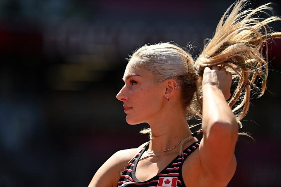 <p>Canada's Georgia Ellenwood competes in the women's heptathlon javelin throw during the Tokyo 2020 Olympic Games at the Olympic Stadium in Tokyo on August 5, 2021. (Photo by Andrej ISAKOVIC / AFP)</p>