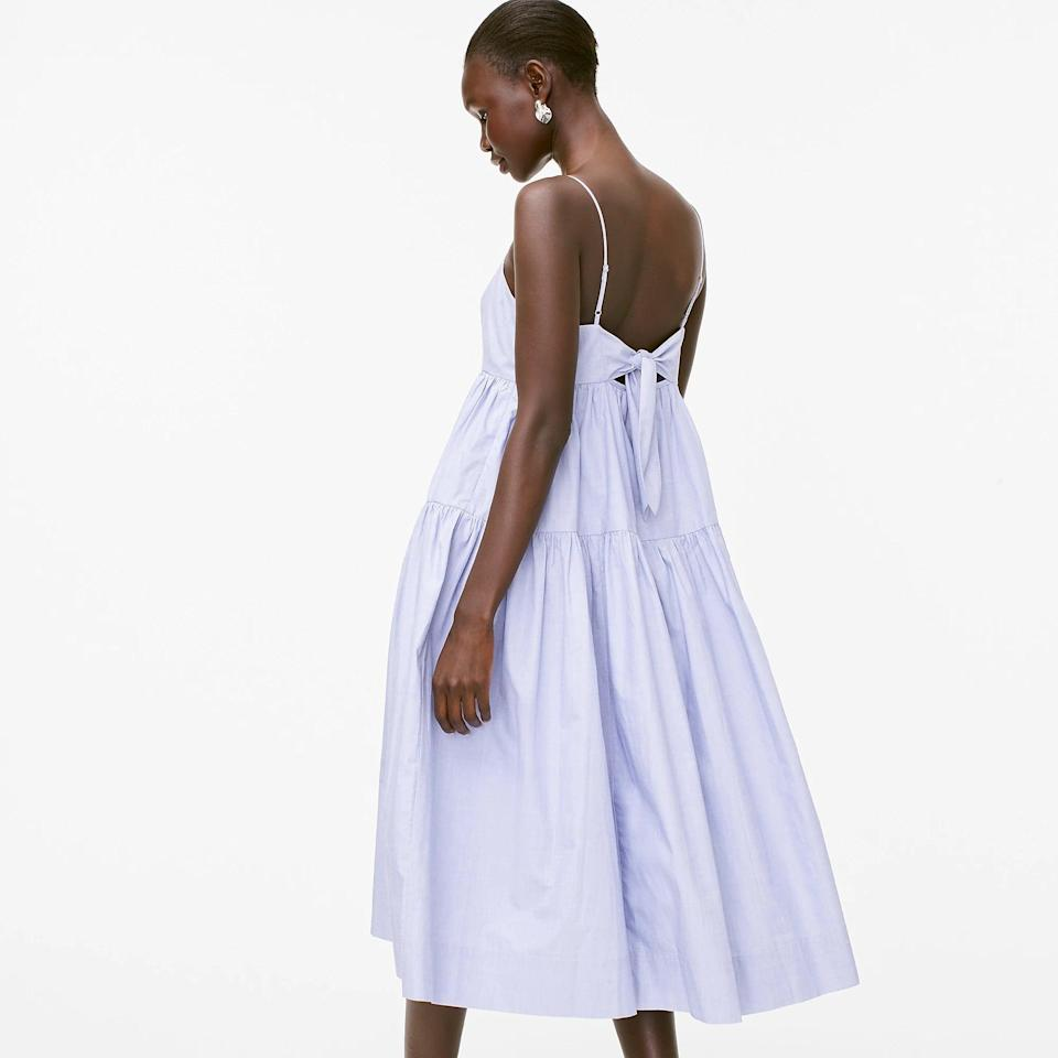 <p>Your friend calls and asks that you quickly get dressed up for a brunch party. What do you wear? This strappy <span>Tie-back Tiered Cotton Poplin Dress</span> ($115, originally $128) that'll earn you the most effortlessly stylish guest for all occasions.</p>