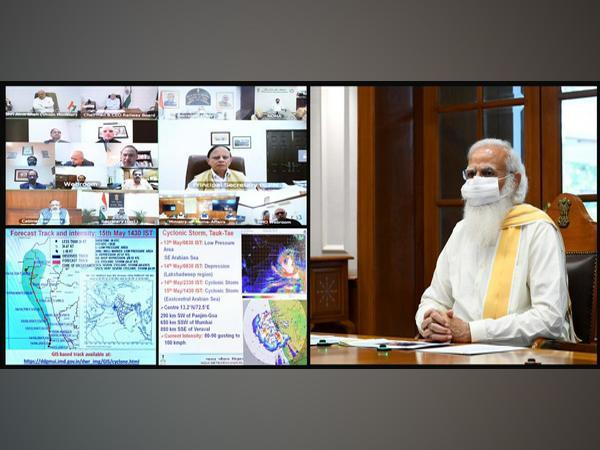 PM Modi holds high-level meeting to review preparedness on Cyclone 'Tauktae' (Photo/ANI)