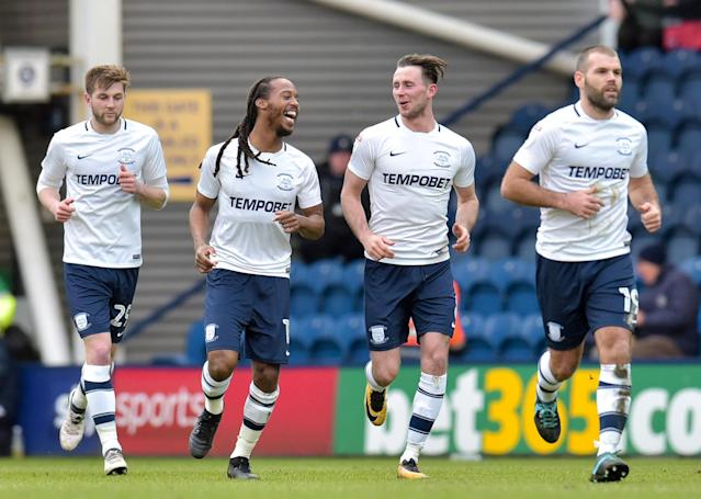 "Soccer Football - Championship - Preston North End vs Wolverhampton Wanderers - Deepdale, Preston, Britain - February 17, 2018 Preston's Alan Browne celebrates with team mates after scoring their first goal Action Images/Paul Burrows EDITORIAL USE ONLY. No use with unauthorized audio, video, data, fixture lists, club/league logos or ""live"" services. Online in-match use limited to 75 images, no video emulation. No use in betting, games or single club/league/player publications. Please contact your account representative for further details."