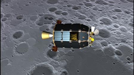 An artist's concept of NASA's Lunar Atmosphere and Dust Environment Explorer (LADEE)