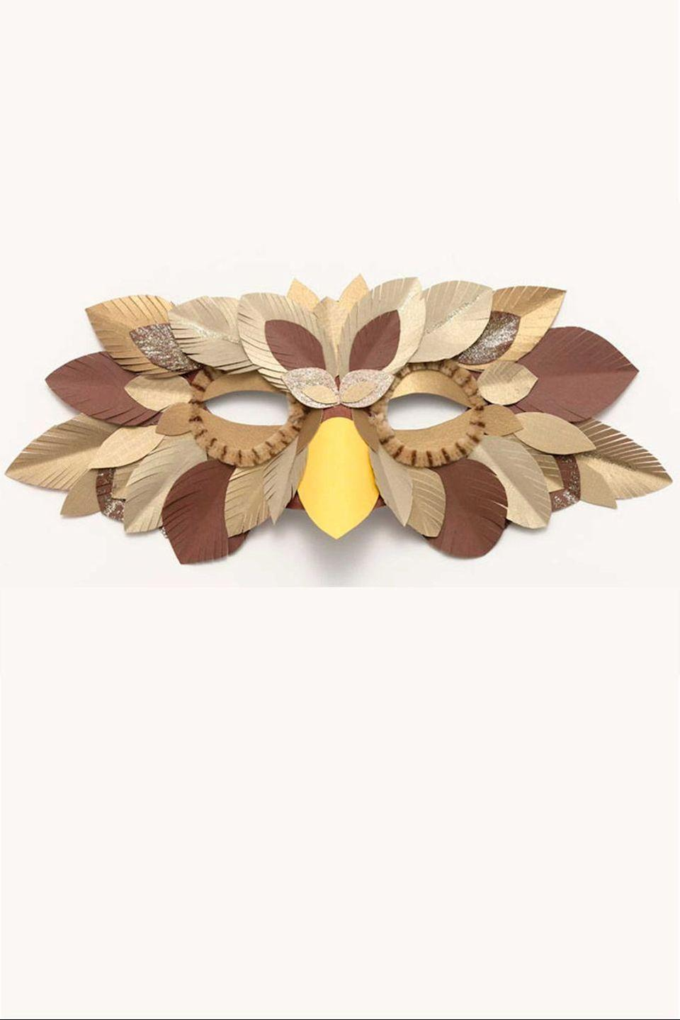 <p>Brown construction paper feathers, gold glitter, acrylic paint, and brown and gold chenille stems can help you make the face of a wise old owl.</p>