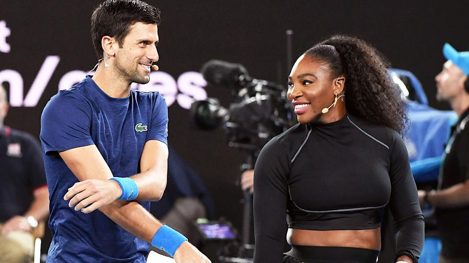 Novak Djokovic (pictured left) sharing a laugh with Serena Williams (pictured right) on the court.
